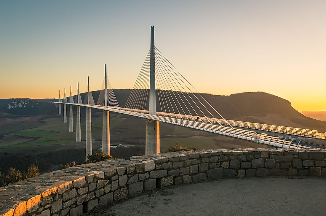 The Millau Viaduct in France is the tallest bridge in the world. Editorial credit: FraVal Imaging / Shutterstock.com.
