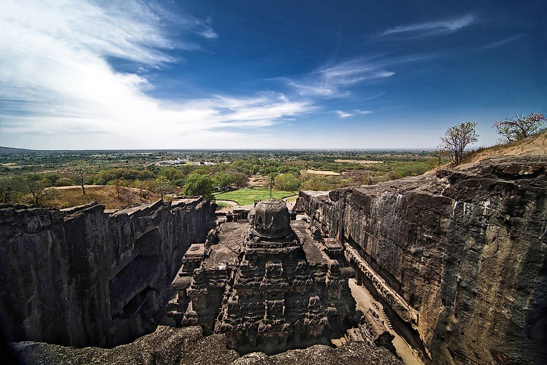 View of the Kailasa Temple in Ellora.