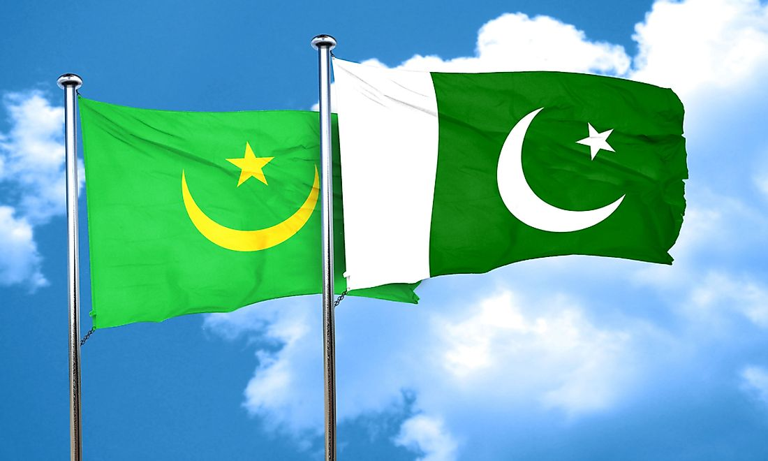 The flags of both Mauritania (left) and Pakistan (right) reflect the Islamic religion using the color green as well as a cresent and star.