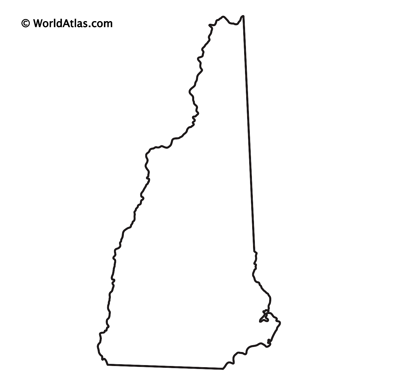 Blank Outline Map of New Hampshire