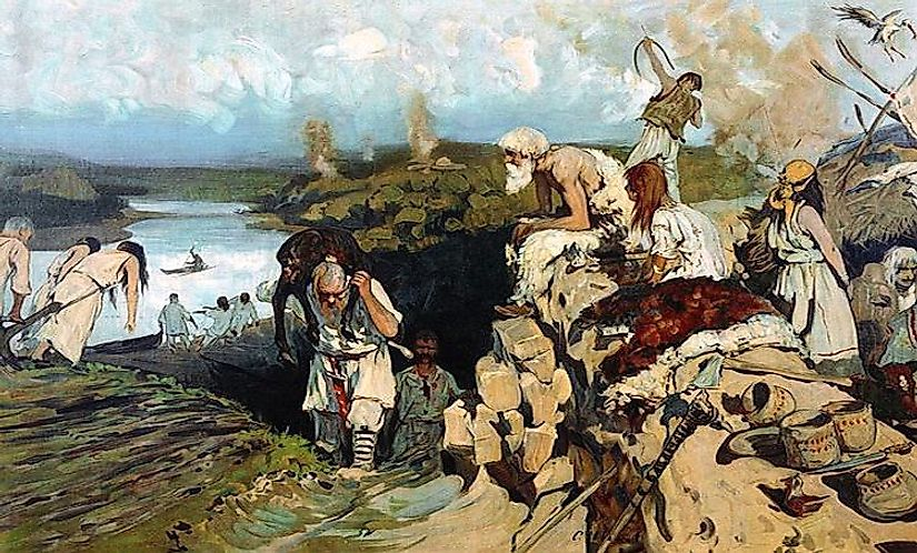 Ancient life of the East Slavs, painting by Sergey Ivanov