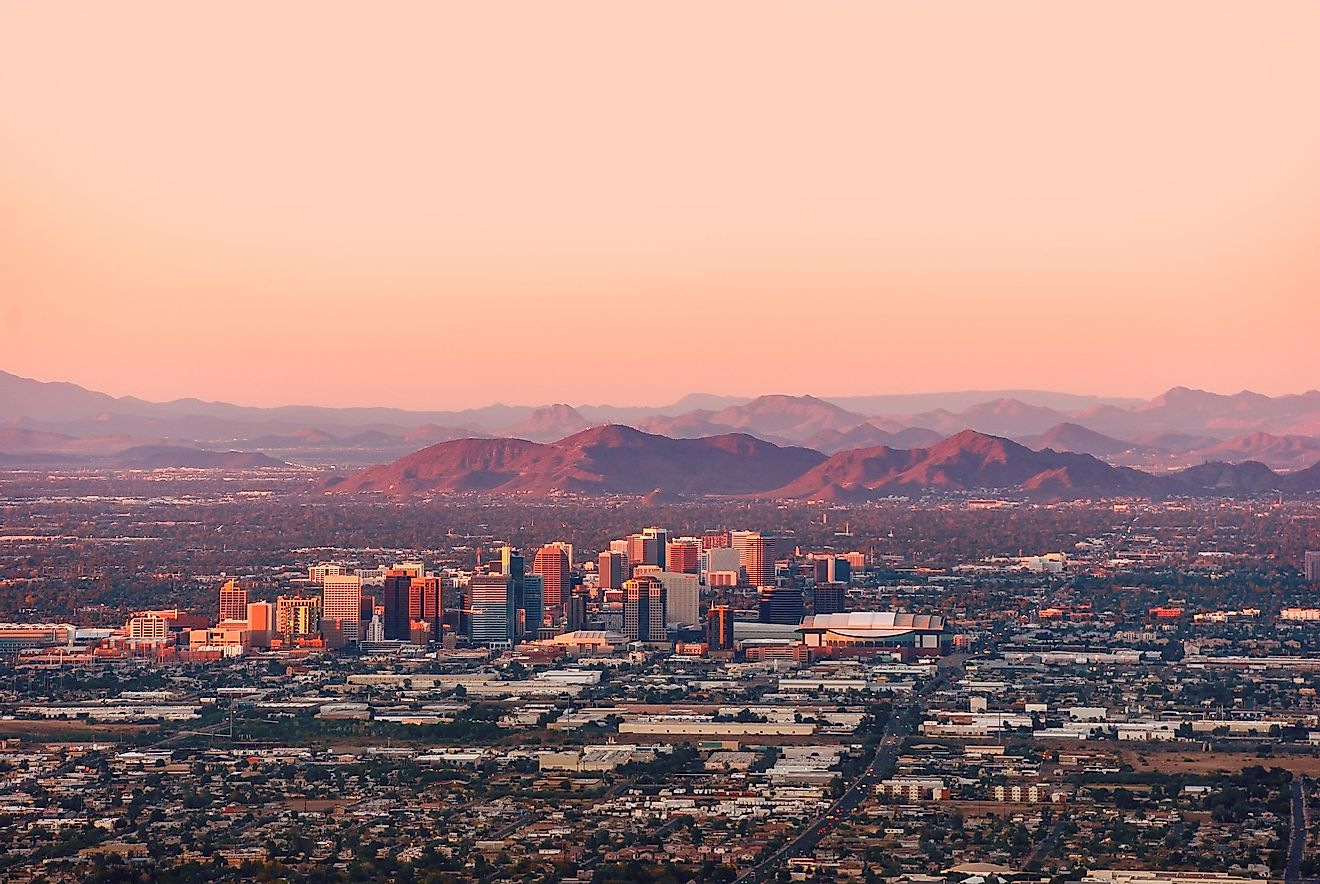 Phoenix Arizona the hottest major city with its downtown lit by the last rays of sun at the dusk.
