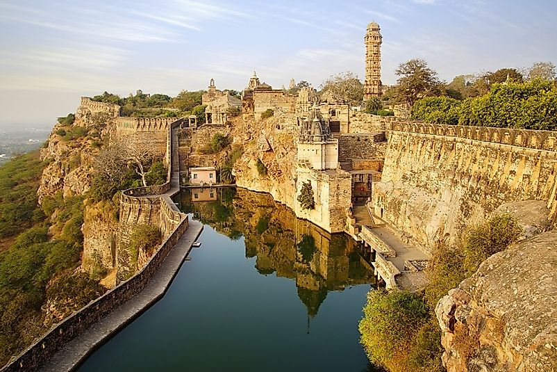 Majestic Chittorgarh Fort upon its Rajasthan, India hillside perch.