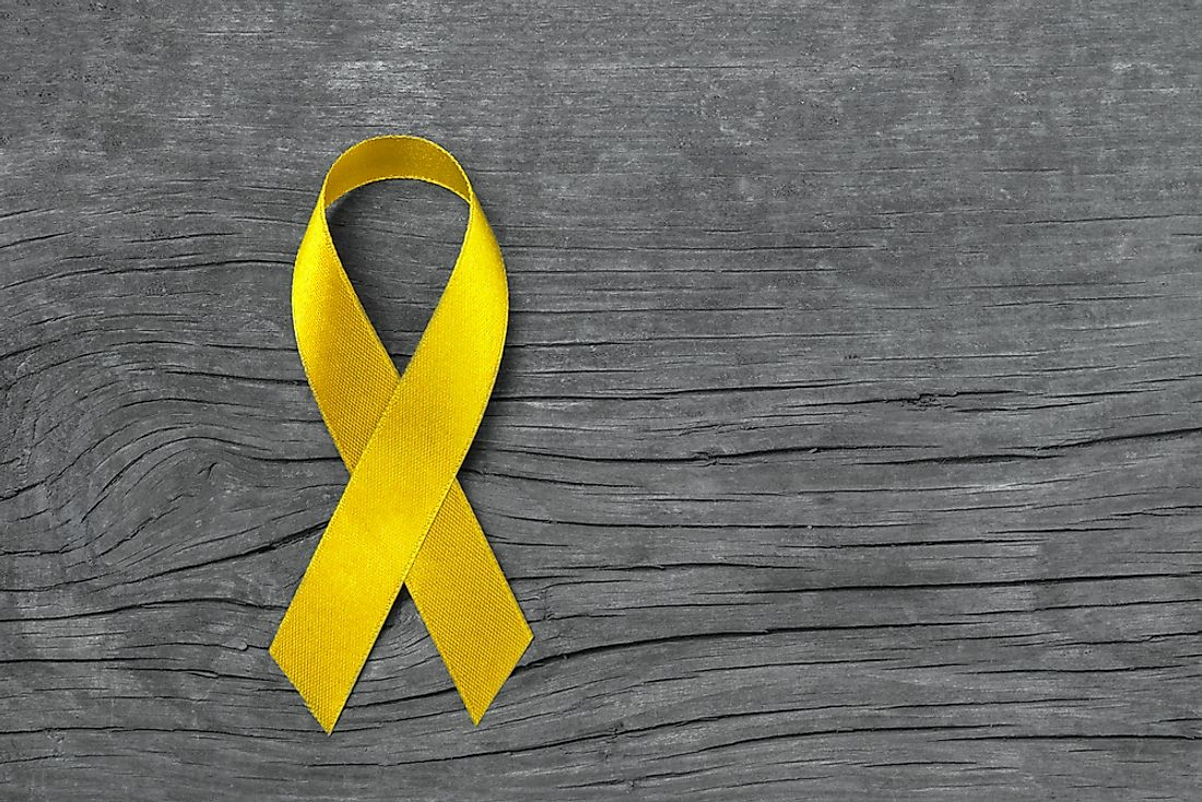 A yellow ribbon, which stands for suicide prevention.
