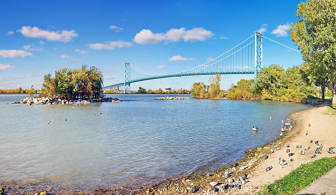 The Ambassador Bridge border crossing between Canada and the United States. The USA is Canada's only neighbor by land.