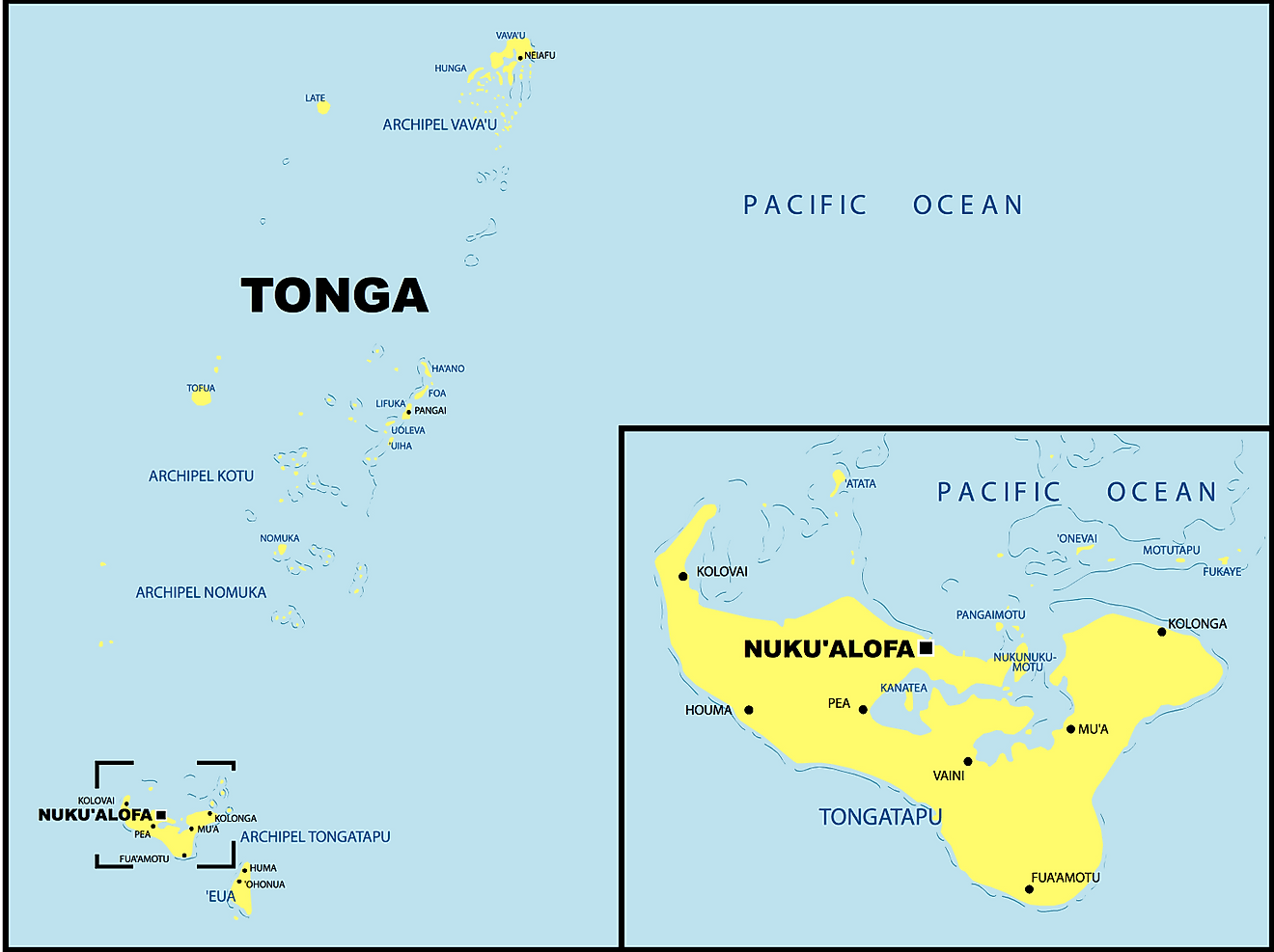 Political Map of Tonga showing its divisions and the capital city of Nukua'lofa