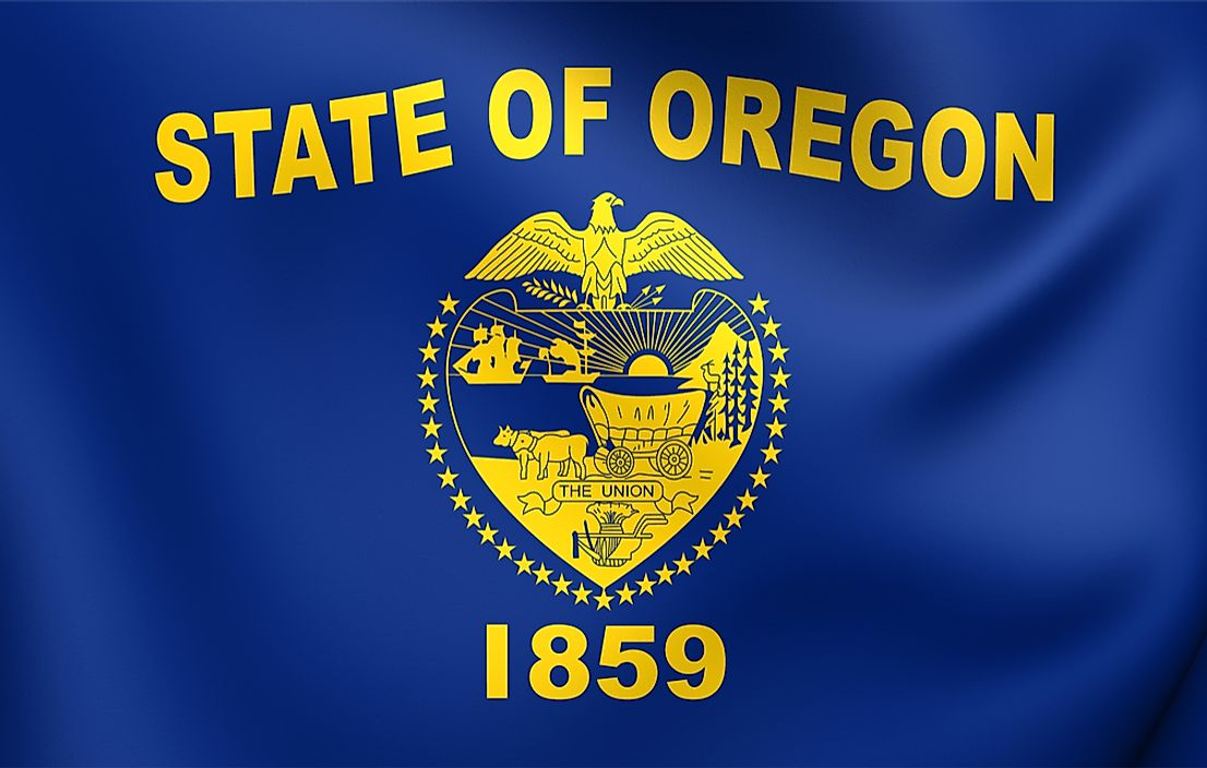 The state flag of Oregon.