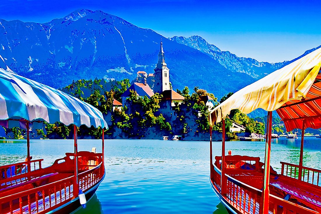 "Traditional ""pletna"" boats at Bled Lake, Slovenia."