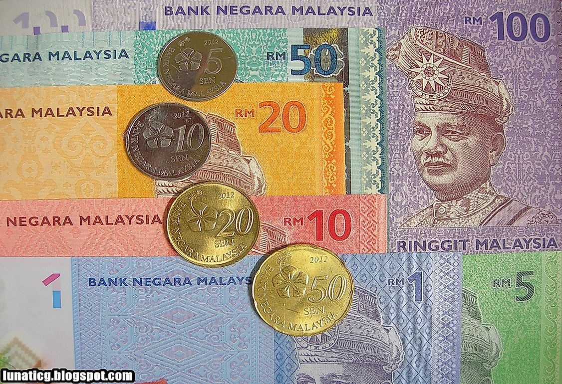 Malaysian currency notes and coins.