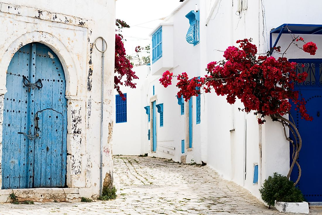 The city of Sidi Bou Said is famous for its blue and white painted buildings.