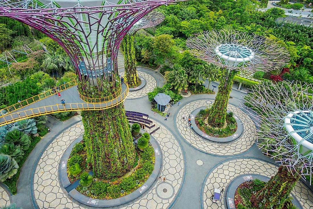 An above view of the famous Gardens By the Bay in Singapore. Photo credit: Editorial credit: Fotos593 / Shutterstock.com.