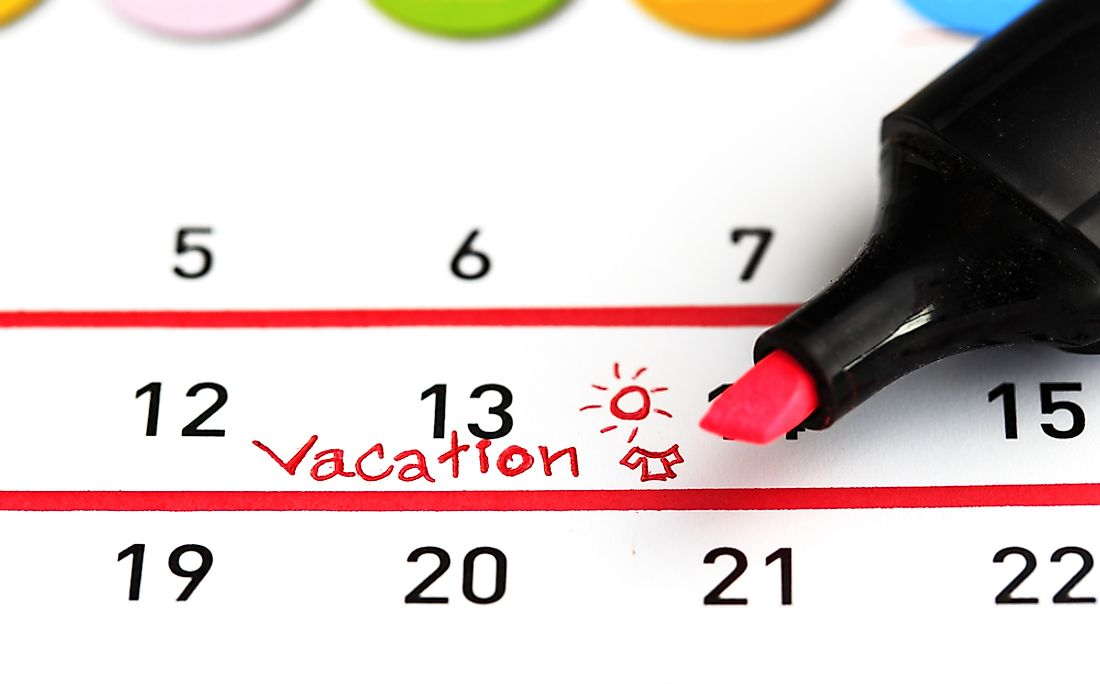 In many countries, paid vacation days are in addition to public holidays.