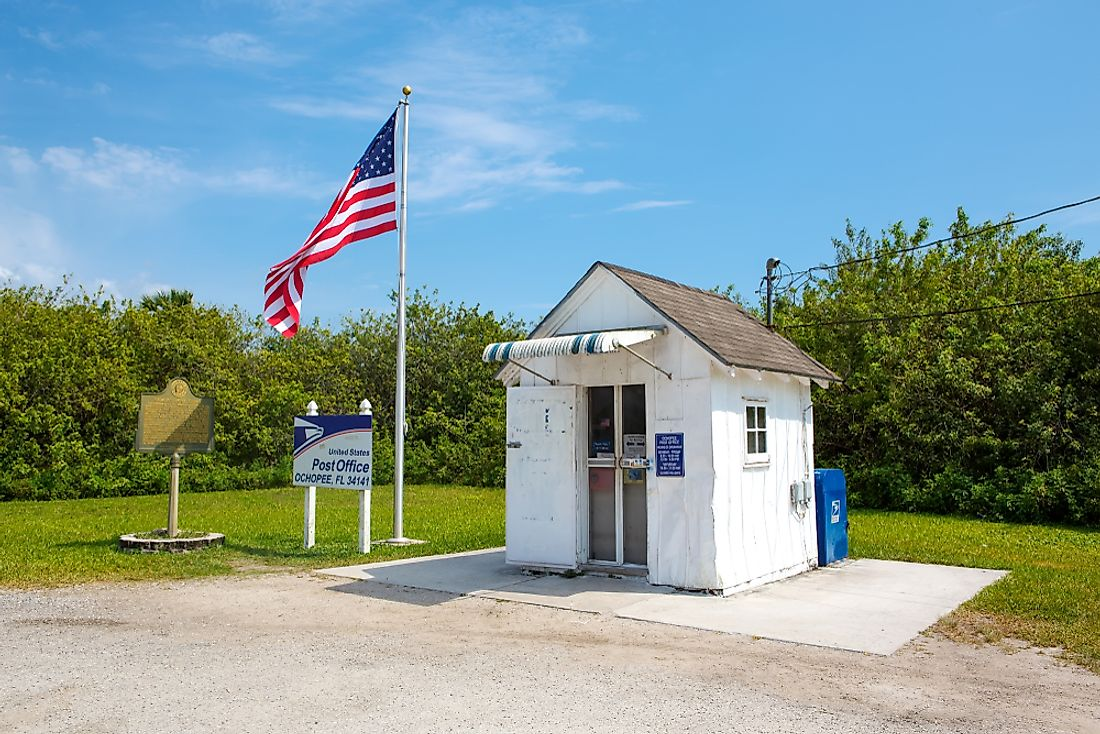 Although small, the Ochopee Post Office is a fully functional. Editorial credit: Romrodphoto / Shutterstock.com