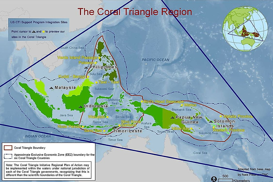 A map exhibiting the boundaries of the Coral Triangle.