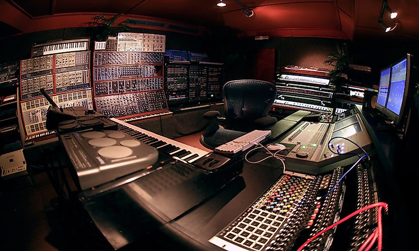 A professional production environment of techno music.