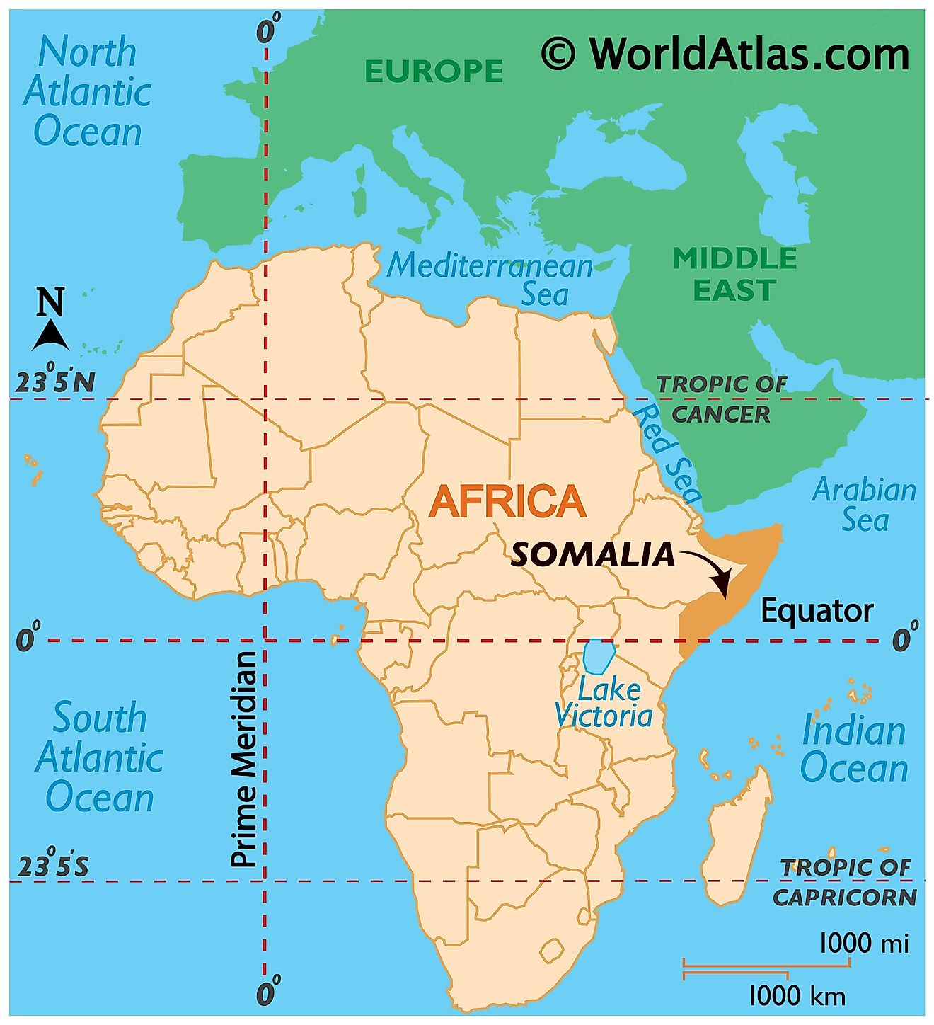 Map showing location of Somalia in the world.
