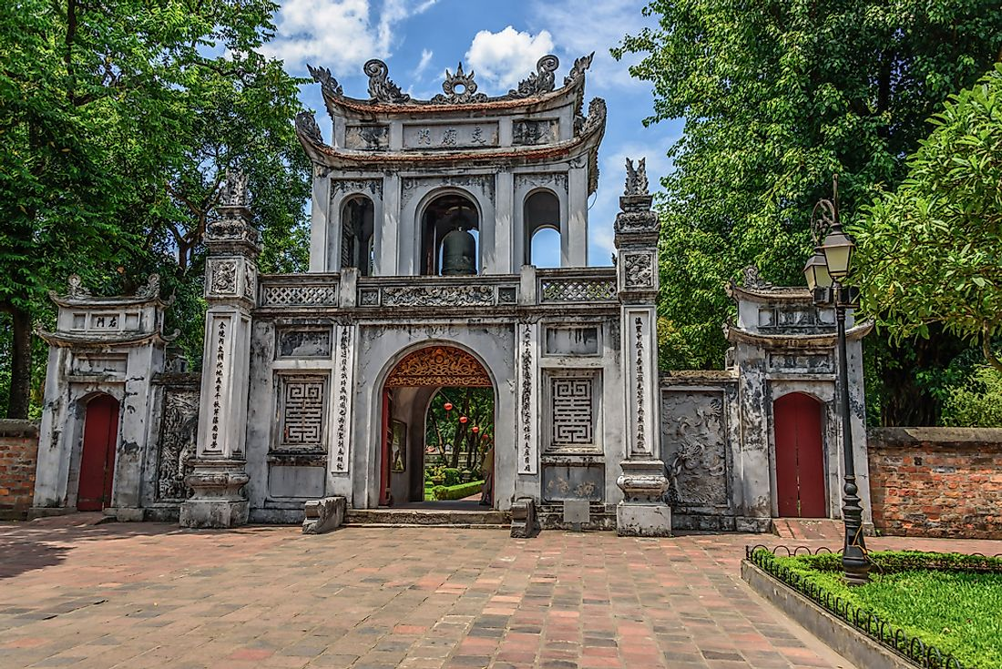 Entrance gate to the The Temple of Literature in Hanoi, northern Vietnam.