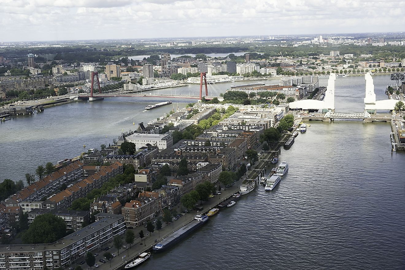 The Rhine river can be seen in Rotterdam, Netherlands.