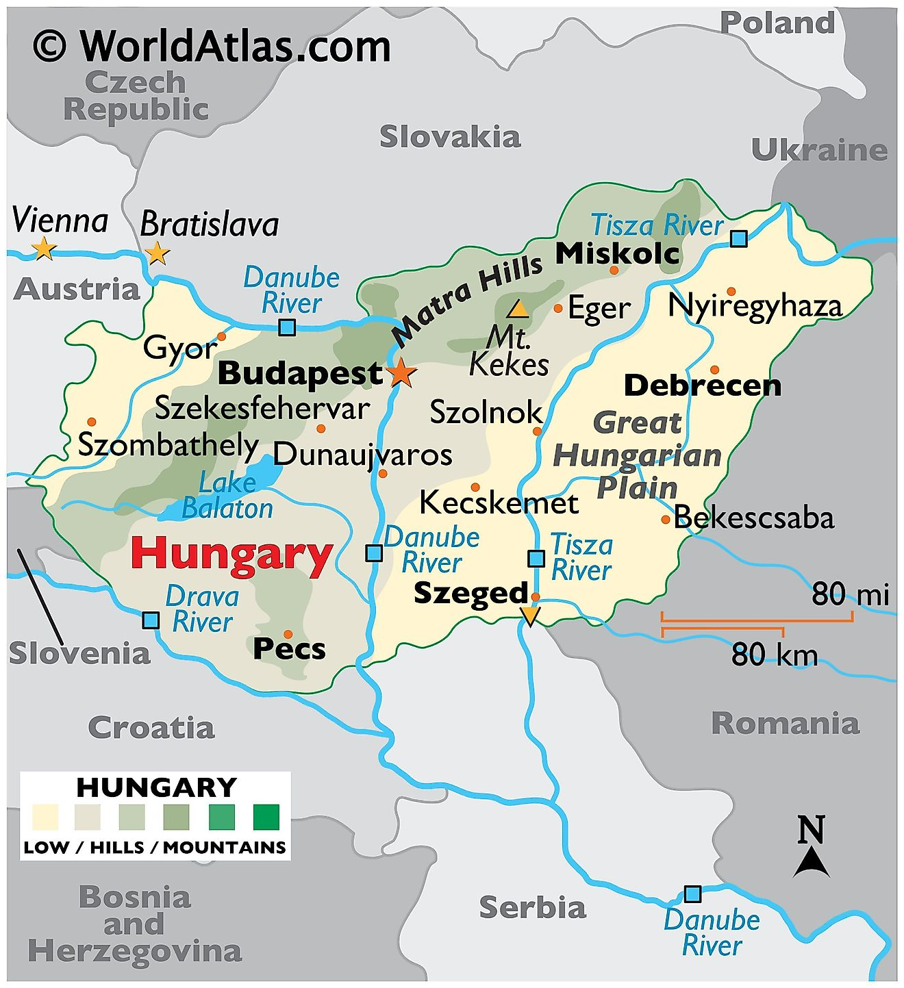 Physical Map of Hungary showing terrain, mountains, extreme points, major rivers, Lake Balaton, important cities, international boundaries, etc.