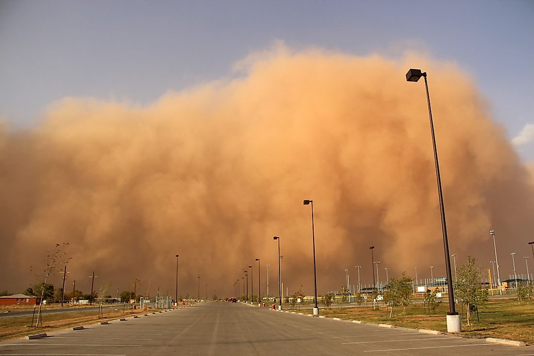 A dust storm blowing in.