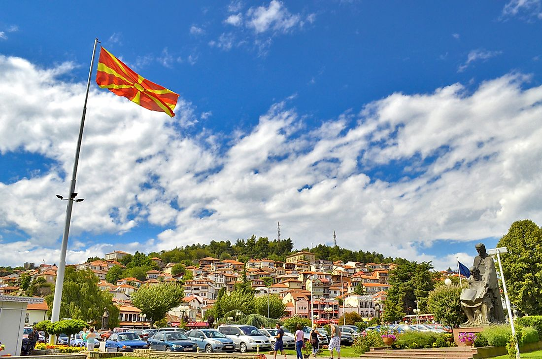 View of Ohrid, Macedonia with the Macedonian flag.
