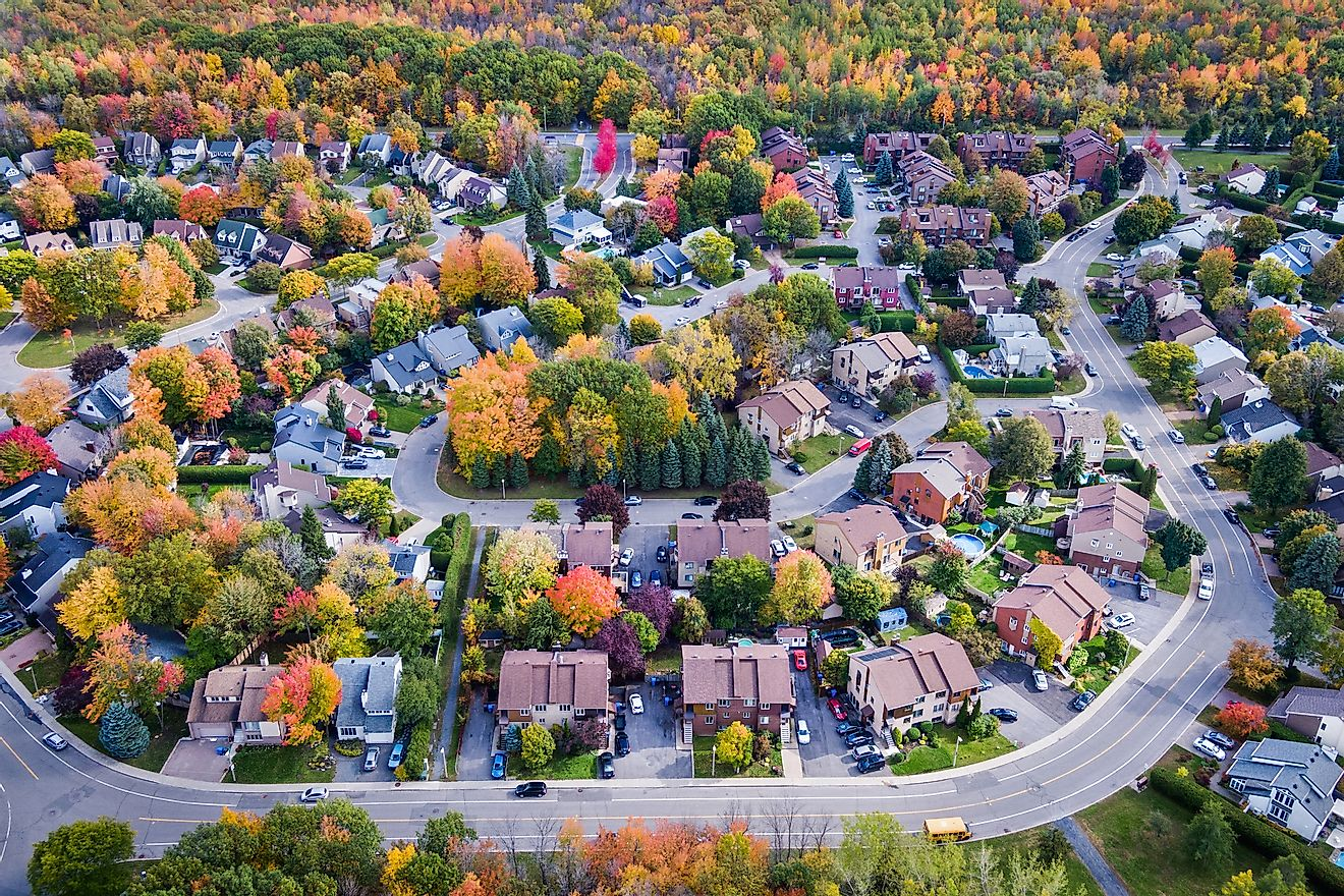 Residential neighbourhood in the suburbs of Montreal during autumn season in Quebec, Canada.