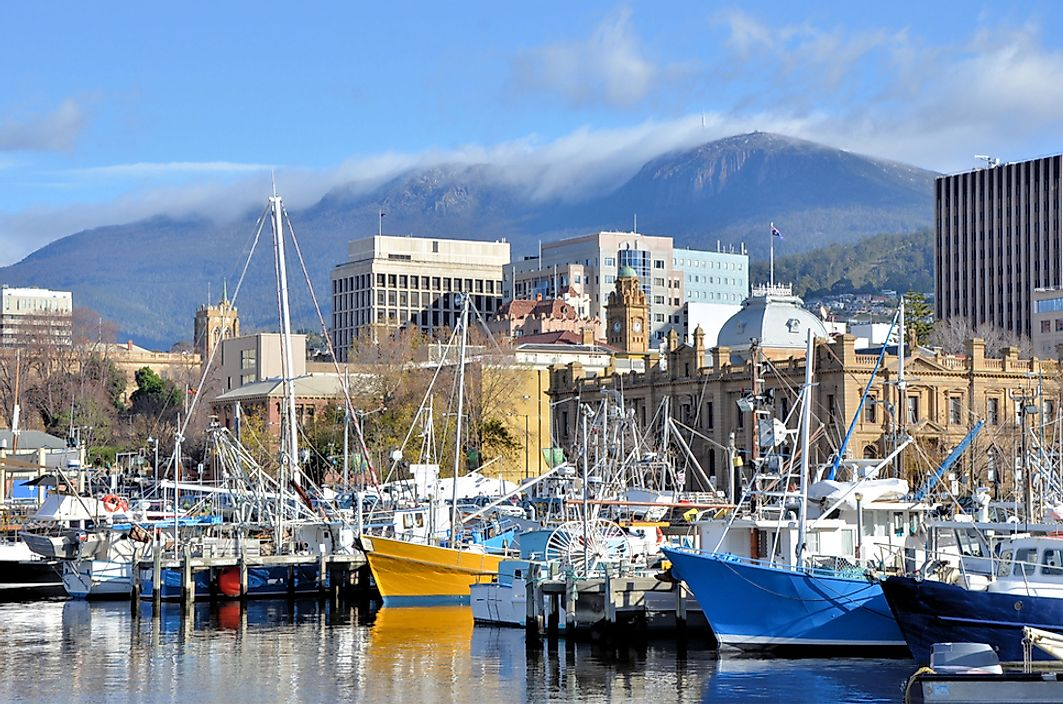 The harbor in Hobart, Tasmania.