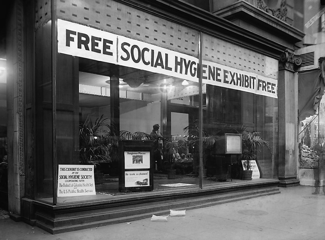 Storefront for the Social Hygiene Society in Washington, D.C. in 1922, part of the Progressive era movement for social reform.