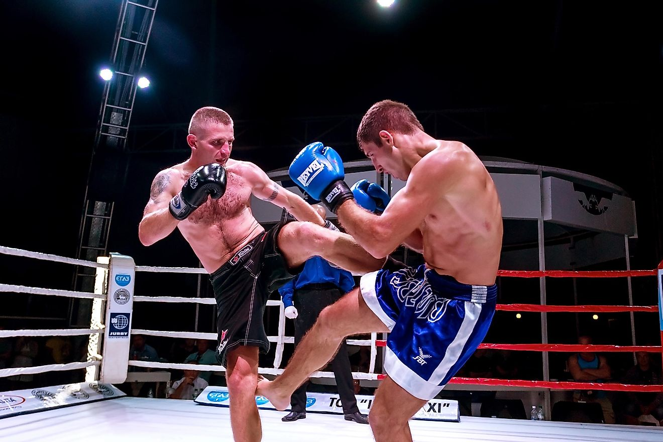 MMA mixed martial arts fighters compete in the ring.