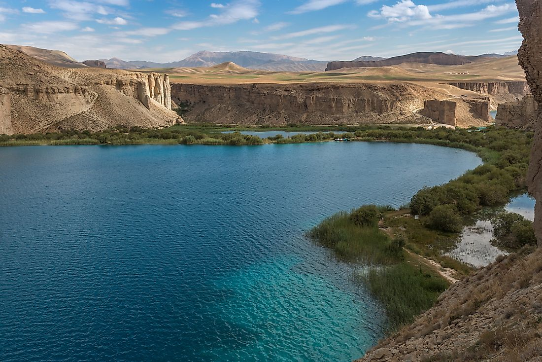 "Band-e Amir, sometimes referred to as ""Afghanistan's Grand Canyon"", nestled in the Hindu Kush at 3,000 meters elevation."