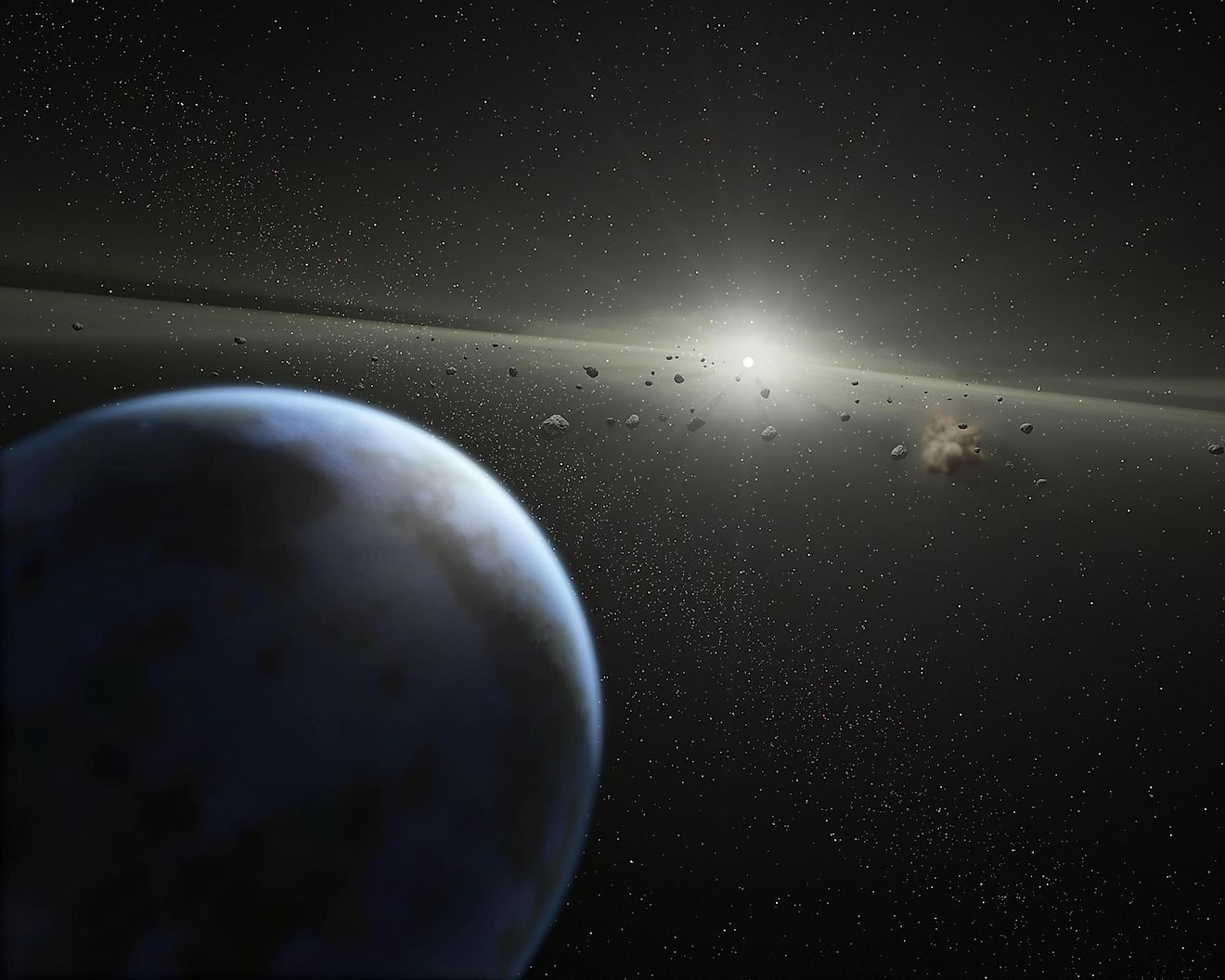 An Artist's Representation Of An Asteroid Belt In Orbit Around A Star.