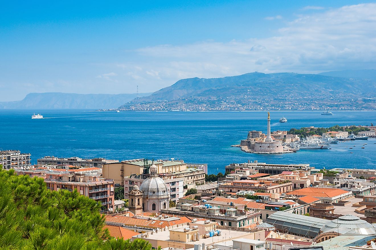 The Strait of Messina seen from Messina, Sicily.