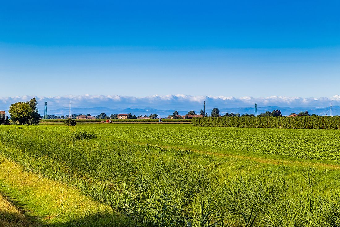 Po Valley in Italy is an alluvial plain.