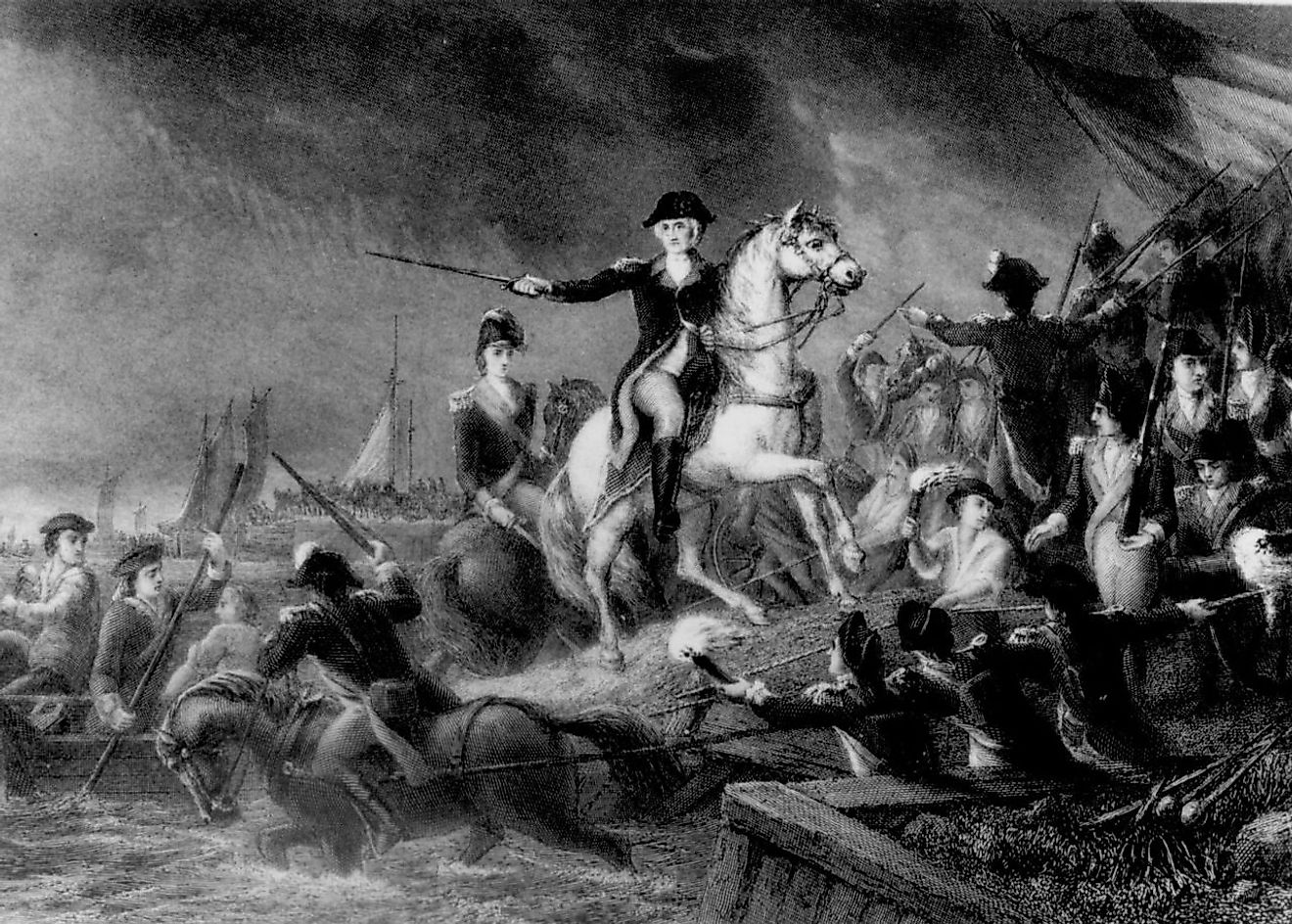 Washington leads the retreat from Long Island. Image credit: James Charles Armytage / Public domain