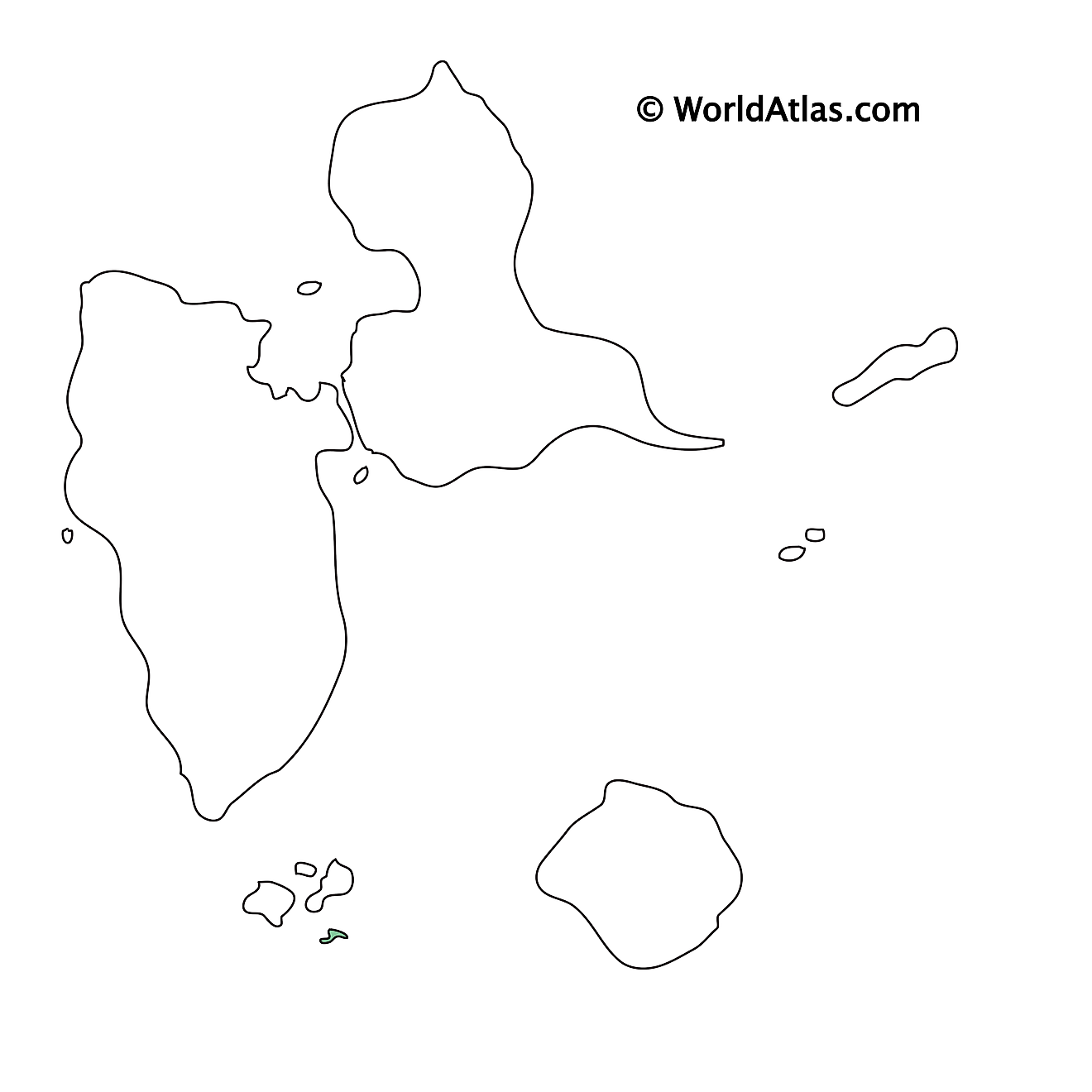 Blank Outline Map of Guadeloupe