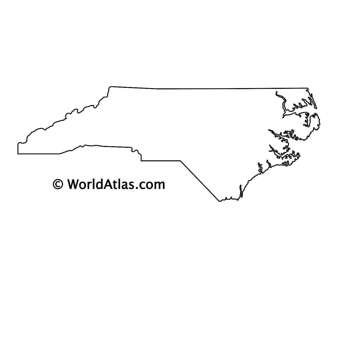 Blank Outline Map of North Carolina