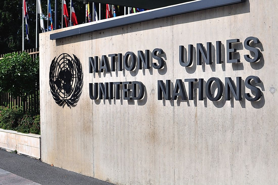 The United Nations sign in Geneva. Editorial credit: Arsenie Krasnevsky / Shutterstock.com.