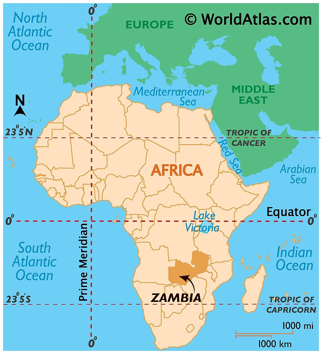 Map showing location of Zambia in the world.