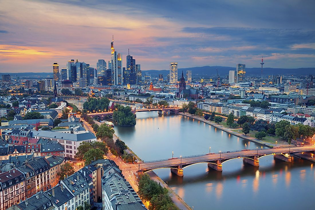 The skyline of Frankfurt with the Commerzbank Tower​ visible as the tallest building in the skyline.