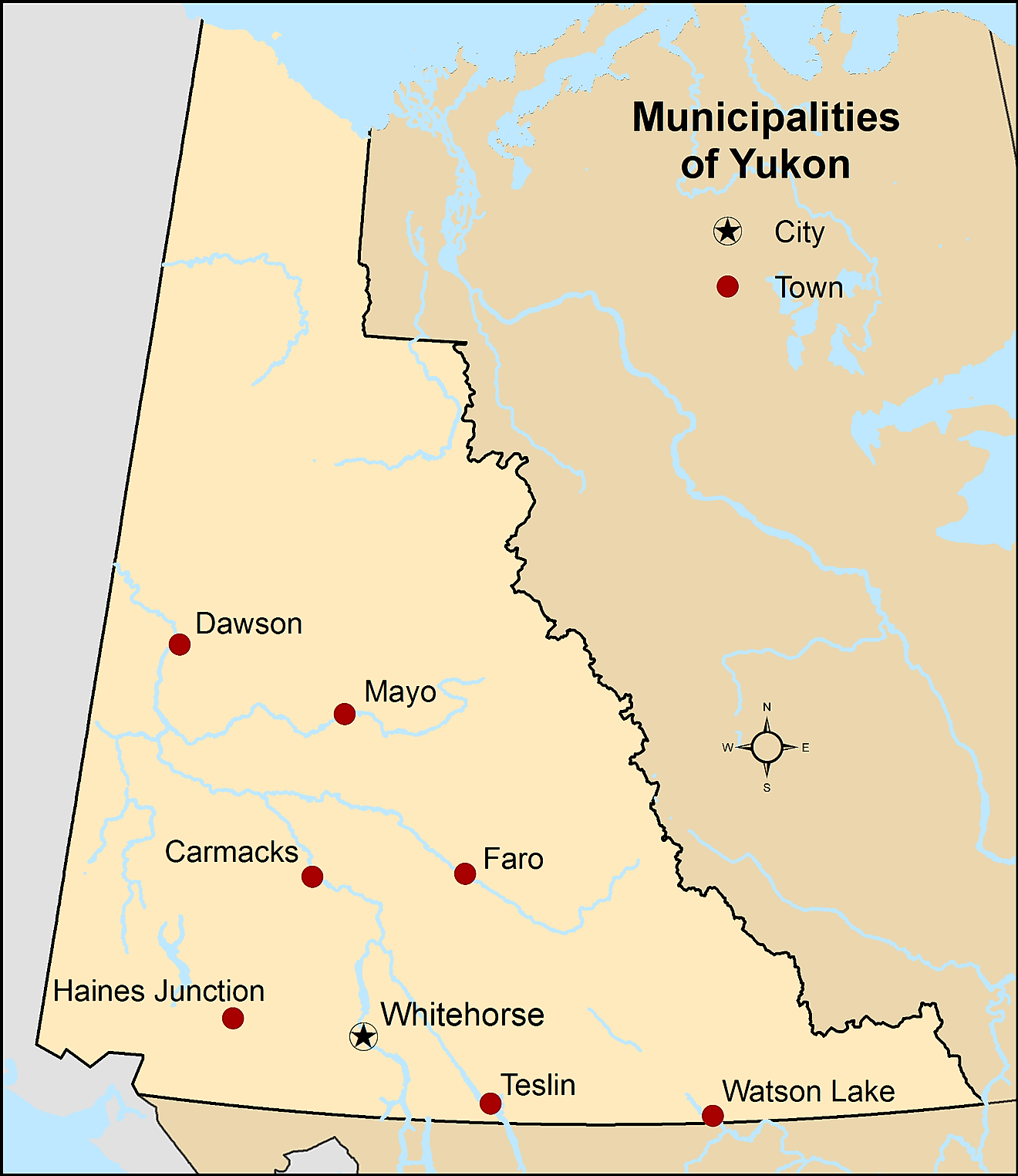 Administrative Map of Yukon showing its municipalities and its capital city - Whitehorse. Image credit: Hwy43/Wikimedia.com