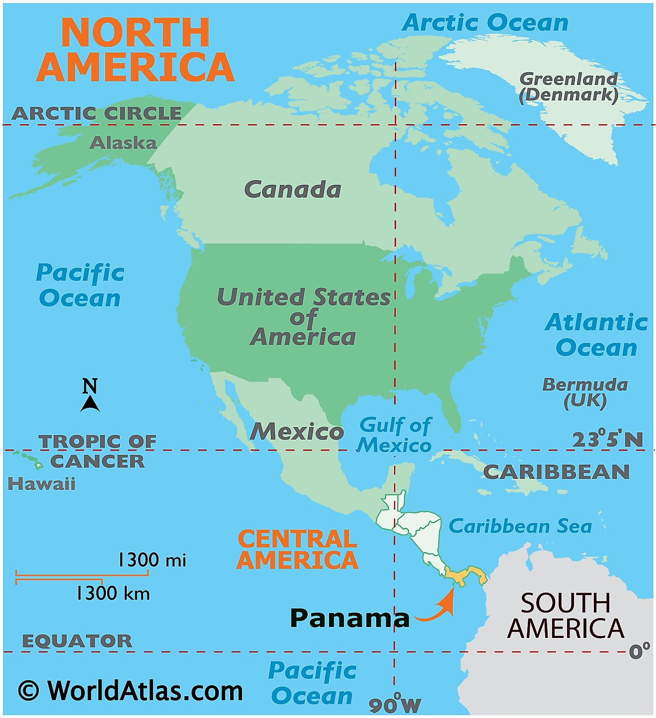 Map showing location of Panama in the world.