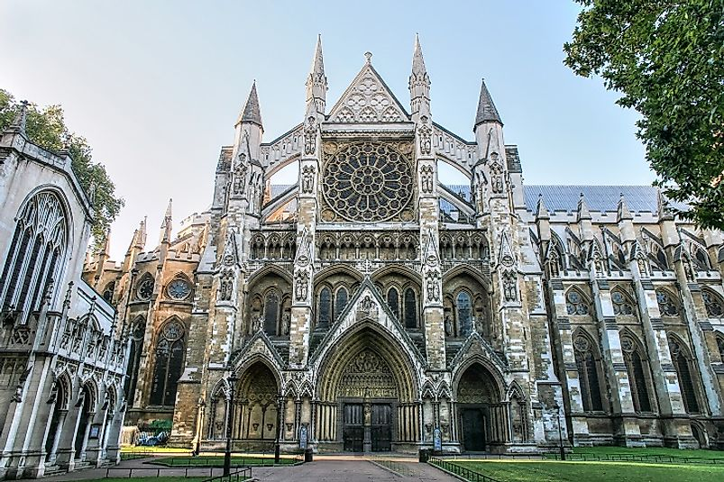 North Entrance to Westminster Abbey in London.