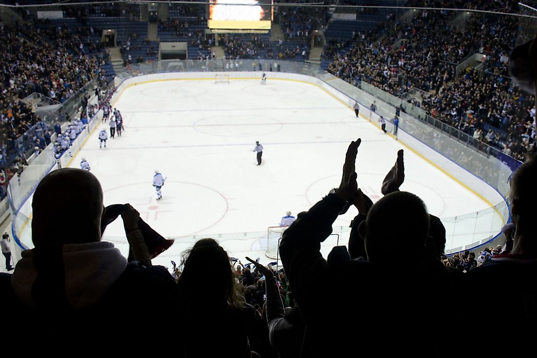 Fans cheer on in a large hockey arena.