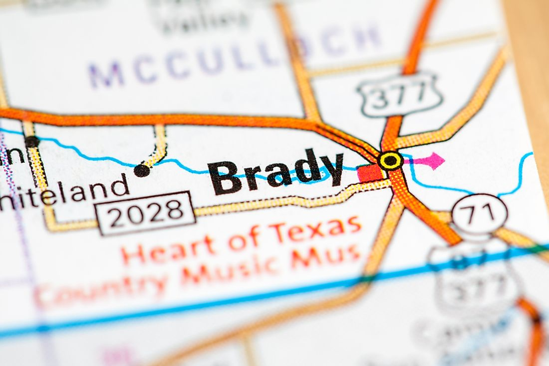 Brady, Texas is situated approximately 15 miles away from the geographic center of Texas.
