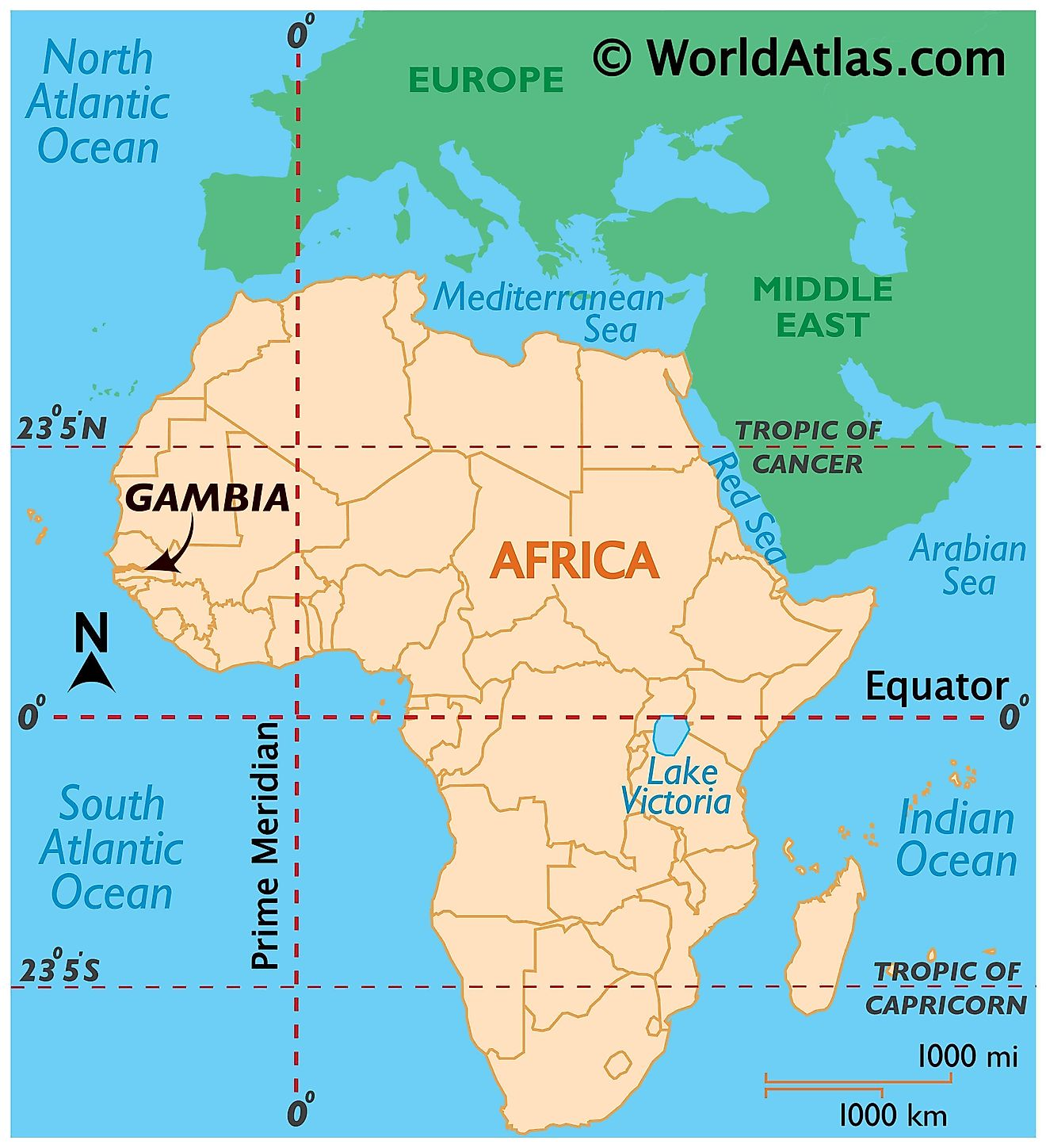 Map showing location of The Gambia in the world.