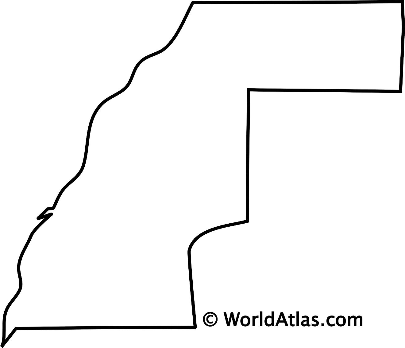 Blank Outline Map of Western Sahara