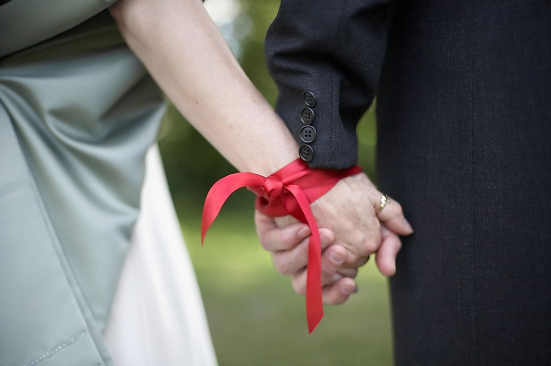 In Western Europe, many couples signify their wedding vows through a tradition called Celtic Handfasting during which the couple's hands are tied together.