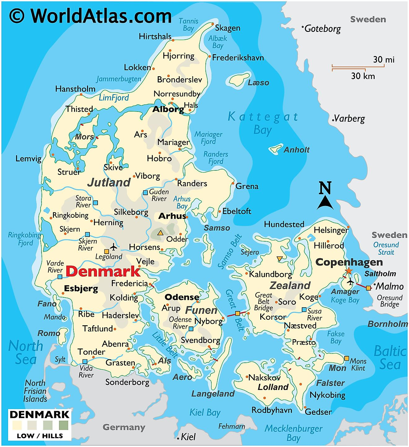 Physical Map of Denmark showing terrain, major rivers, extreme points, the Jutland Peninsula, main islands, important cities, international boundaries, etc.