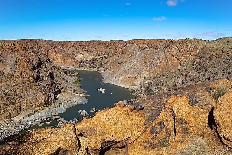 The Orange River passes through an arid gorge in Northern Cape Province near South Africa's borders with Namibia and Botswana.