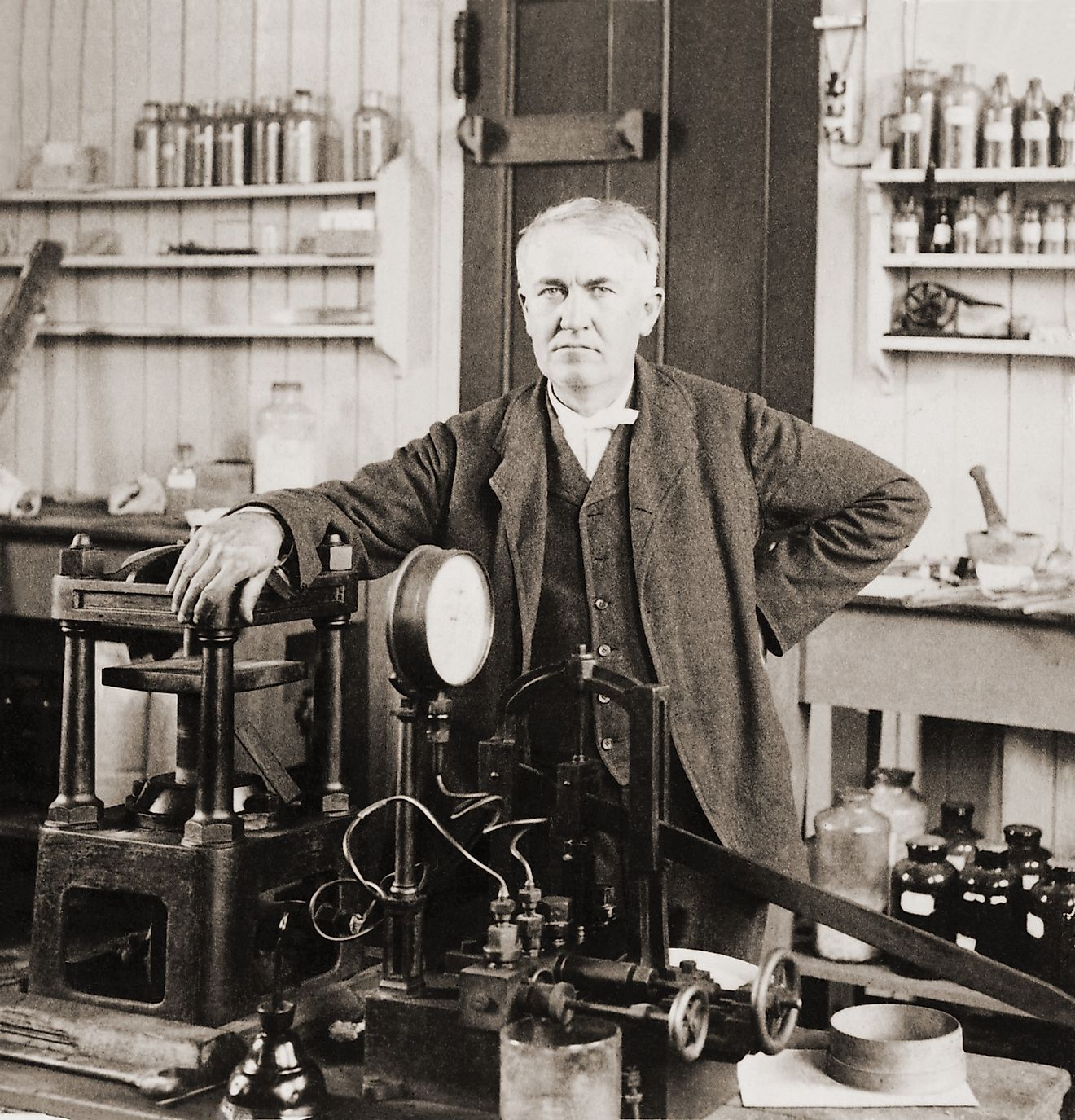 Thomas A. Edison (1847-1931), in his West Orange, New Jersey, laboratory, ca. 1901.